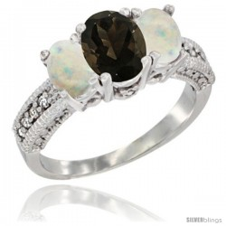 14k White Gold Ladies Oval Natural Smoky Topaz 3-Stone Ring with Opal Sides Diamond Accent