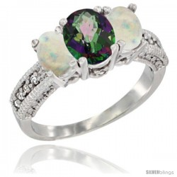 14k White Gold Ladies Oval Natural Mystic Topaz 3-Stone Ring with Opal Sides Diamond Accent