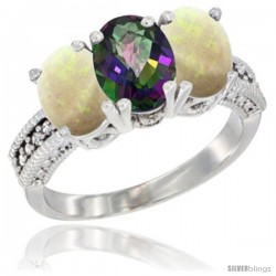 14K White Gold Natural Mystic Topaz & Opal Sides Ring 3-Stone 7x5 mm Oval Diamond Accent