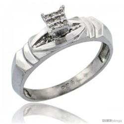 Sterling Silver Diamond Engagement Ring Rhodium finish, 3/16 in wide -Style Ag021er