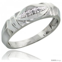 Sterling Silver Ladies' Diamond Wedding Band Rhodium finish, 3/16 in wide -Style Ag021lb
