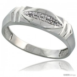 Sterling Silver Men's Diamond Wedding Band Rhodium finish, 1/4 in wide -Style Ag021mb