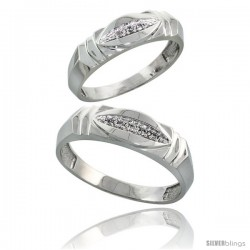 Sterling Silver Diamond 2 Piece Wedding Ring Set His 6mm & Hers 5mm Rhodium finish -Style Ag021w2