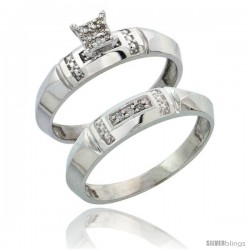 Sterling Silver Ladies' 2-Piece Diamond Engagement Wedding Ring Set Rhodium finish, 5/32 in wide -Style Ag022e2