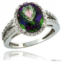 Sterling Silver Diamond Halo Mystic Topaz Ring 2.85 Carat Oval Shape 11X9 mm, 7/16 in (11mm) wide