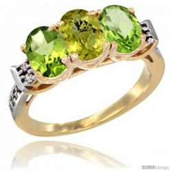 10K Yellow Gold Natural Lemon Quartz & Peridot Sides Ring 3-Stone Oval 7x5 mm Diamond Accent