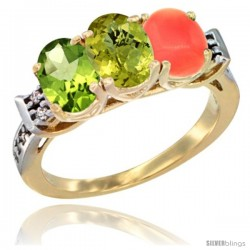10K Yellow Gold Natural Peridot, Lemon Quartz & Coral Ring 3-Stone Oval 7x5 mm Diamond Accent