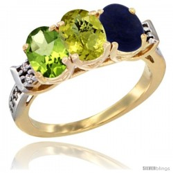 10K Yellow Gold Natural Peridot, Lemon Quartz & Lapis Ring 3-Stone Oval 7x5 mm Diamond Accent