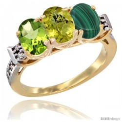 10K Yellow Gold Natural Peridot, Lemon Quartz & Malachite Ring 3-Stone Oval 7x5 mm Diamond Accent