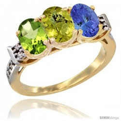 10K Yellow Gold Natural Peridot, Lemon Quartz & Tanzanite Ring 3-Stone Oval 7x5 mm Diamond Accent