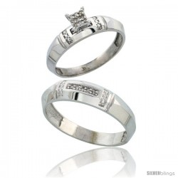 Sterling Silver 2-Piece Diamond wedding Engagement Ring Set for Him & Her Rhodium finish, 4mm & 5.5mm wide