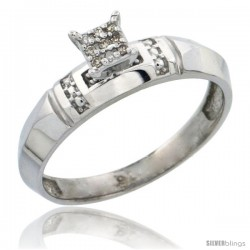 Sterling Silver Diamond Engagement Ring Rhodium finish, 5/32 in wide -Style Ag022er