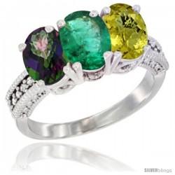 10K White Gold Natural Mystic Topaz, Emerald & Lemon Quartz Ring 3-Stone Oval 7x5 mm Diamond Accent