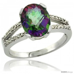 Sterling Silver and Diamond Halo Mystic Topaz Ring 2.4 carat Oval shape 10X8 mm, 3/8 in (10mm) wide