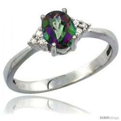 10K White Gold Natural Mystic Topaz Ring Oval 7x5 Stone Diamond Accent