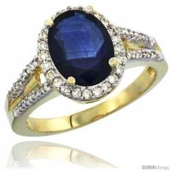 14k Yellow Gold Ladies Natural Blue Sapphire Ring oval 10x8 Stone Diamond Accent