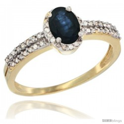 14k Yellow Gold Ladies Natural Blue Sapphire Ring oval 6x4 Stone Diamond Accent -Style Cy416178