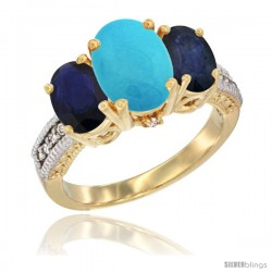 14K Yellow Gold Ladies 3-Stone Oval Natural Turquoise Ring with Blue Sapphire Sides Diamond Accent