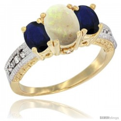 14k Yellow Gold Ladies Oval Natural Opal 3-Stone Ring with Blue Sapphire Sides Diamond Accent