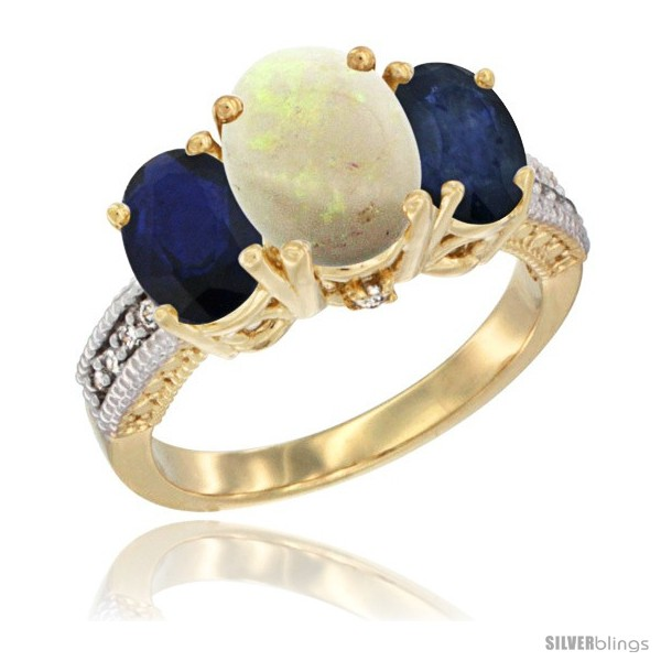 https://www.silverblings.com/56750-thickbox_default/14k-yellow-gold-ladies-3-stone-oval-natural-opal-ring-blue-sapphire-sides-diamond-accent.jpg