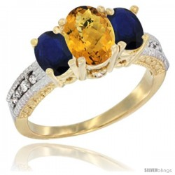 14k Yellow Gold Ladies Oval Natural Whisky Quartz 3-Stone Ring with Blue Sapphire Sides Diamond Accent