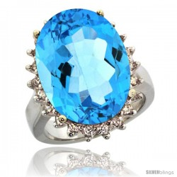 10k White Gold Diamond Halo Swiss Blue Topaz Ring 10 ct Large Oval Stone 18x13 mm, 7/8 in wide