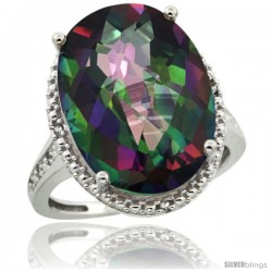 Sterling Silver Diamond Mystic Topaz Ring 13.56 Carat Oval Shape 18x13 mm, 3/4 in (20mm) wide