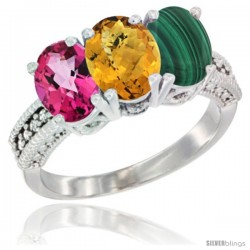 14K White Gold Natural Pink Topaz, Whisky Quartz & Malachite Ring 3-Stone 7x5 mm Oval Diamond Accent