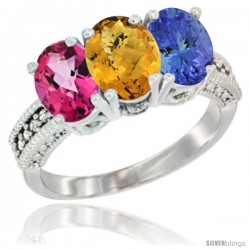 14K White Gold Natural Pink Topaz, Whisky Quartz & Tanzanite Ring 3-Stone 7x5 mm Oval Diamond Accent