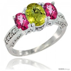 14k White Gold Ladies Oval Natural Lemon Quartz 3-Stone Ring with Pink Topaz Sides Diamond Accent