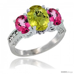 14K White Gold Ladies 3-Stone Oval Natural Lemon Quartz Ring with Pink Topaz Sides Diamond Accent