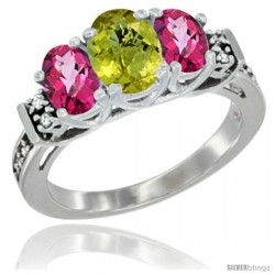 14K White Gold Natural Lemon Quartz & Pink Topaz Ring 3-Stone Oval with Diamond Accent