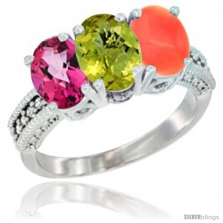 14K White Gold Natural Pink Topaz, Lemon Quartz & Coral Ring 3-Stone 7x5 mm Oval Diamond Accent