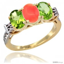 10K Yellow Gold Natural Coral & Peridot Sides Ring 3-Stone Oval 7x5 mm Diamond Accent