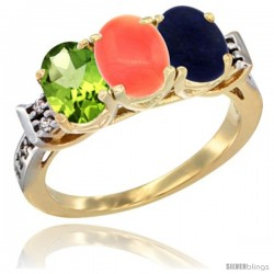 10K Yellow Gold Natural Peridot, Coral & Lapis Ring 3-Stone Oval 7x5 mm Diamond Accent