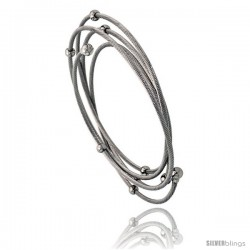 Stainless Steel Cable Bracelet 2 mm thick, w/ 4 mm Beads & 5 mm Ball-ends, 7 1/2 in