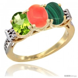 10K Yellow Gold Natural Peridot, Coral & Malachite Ring 3-Stone Oval 7x5 mm Diamond Accent