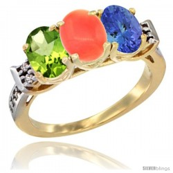 10K Yellow Gold Natural Peridot, Coral & Tanzanite Ring 3-Stone Oval 7x5 mm Diamond Accent