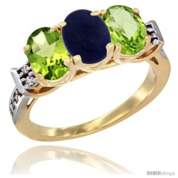 10K Yellow Gold Natural Lapis & Peridot Sides Ring 3-Stone Oval 7x5 mm Diamond Accent