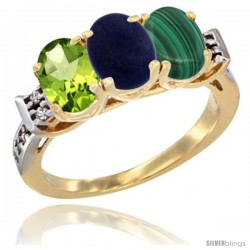 10K Yellow Gold Natural Peridot, Lapis & Malachite Ring 3-Stone Oval 7x5 mm Diamond Accent