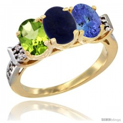 10K Yellow Gold Natural Peridot, Lapis & Tanzanite Ring 3-Stone Oval 7x5 mm Diamond Accent