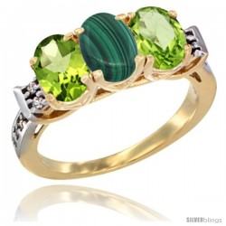 10K Yellow Gold Natural Malachite & Peridot Sides Ring 3-Stone Oval 7x5 mm Diamond Accent