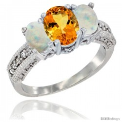 14k White Gold Ladies Oval Natural Citrine 3-Stone Ring with Opal Sides Diamond Accent