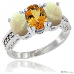 14K White Gold Natural Citrine & Opal Sides Ring 3-Stone 7x5 mm Oval Diamond Accent