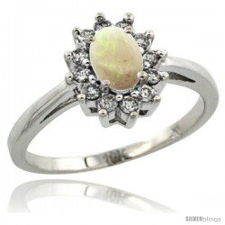14k White Gold Opal Diamond Halo Ring Oval Shape 1.2 Carat 6X4 mm, 1/2 in wide