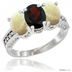 14K White Gold Natural Garnet & Opal Sides Ring 3-Stone 7x5 mm Oval Diamond Accent