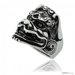 Surgical Steel Biker Ring Chinese Dragon Head 1 in long