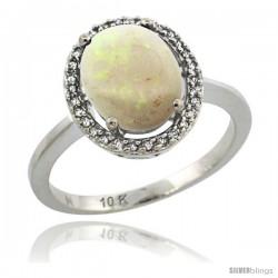 14k White Gold Diamond Halo Opal Ring 2.4 carat Oval shape 10X8 mm, 1/2 in (12.5mm) wide