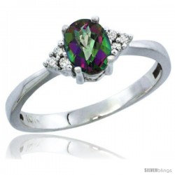 10K White Gold Natural Mystic Topaz Ring Oval 6x4 Stone Diamond Accent