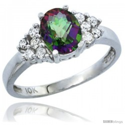 10K White Gold Natural Mystic Topaz Ring Oval 8x6 Stone Diamond Accent